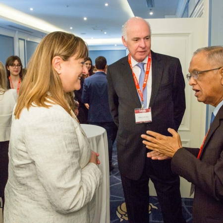 From left to right: Dean Isabelle Bajeux of the Desautels Faculty of Management, Donald Lewtas (BCom'75), Managing Director, Onex Corporation and Chairman of the International Advisory Board, and recipient of a 2018 Desautels Management Achievement Award (DMAA), Narayana Murthy (DSc'15), Co-Founder and Chairman Emeritus Infosys