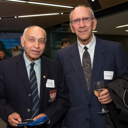 Dr. Mahesh Sharma, DipEng'68, MEng'72, DipMgmt'74 and Dr Stanley Shapiro, MBA'76, Former Dean of Faculty of Management