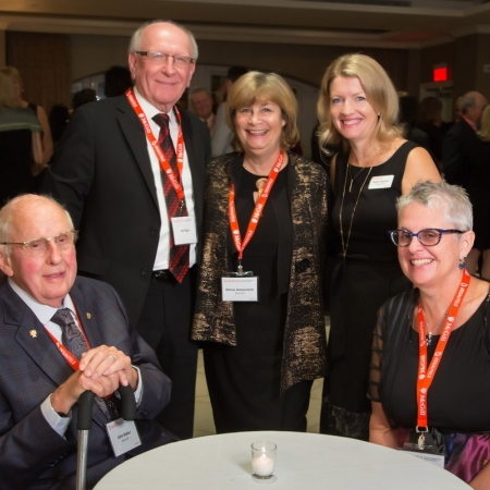 John Baker (BCom'47), Joe Iogel, Mona Aronovitch (BCom'67), Heather Hopkinson, Heather Khoury (BSc'79)
