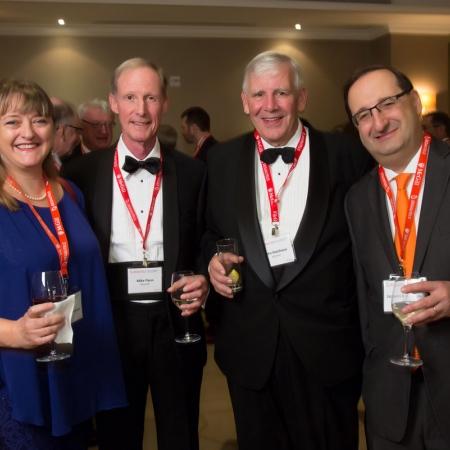 Dean Isabelle Bajeux, Mike Flynn (BCom'67), John Hutchison (BCom'67), Jacques Besnainou