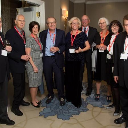 Barry Wilson (BCom'62), Nathan Bordman (BCom'62, BCL/LLB'80), Dale Bordman, Milan Jirava (BCom'62), Alice Jirava (BCom'62). Adrien Desautels (BCom'62), Michelle Desautels, Norma Lapp, Floyd Lapp (BCom'62)