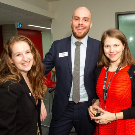 Bess Zafran (BA'18), Olivier Forgues, MBA student and Anna Trusen, MBA student