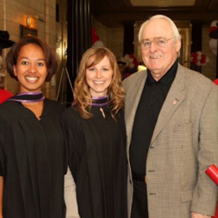 Prof. Susan Christoffersen, Laetitia Johnson (MBA'09), Jennifer Magher (MBA'09), Marcel Desautels (LLD'07) ,Teaching Award recipient, Prof. Peter Christoffersen (Owen Egan)
