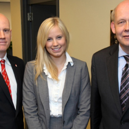 MBA Student Mike Ross, MUS President, Celine Junke, Prof. Karl Moore