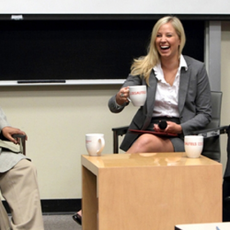 Dr. Yunus shares a laugh with Celine Junke & Mike Ross