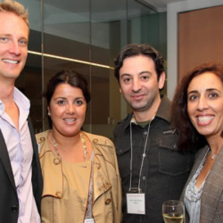 Ron Duerksen, MBA'01, Director of Marketing and Communications, Celia Fernandes, MBA '01, Rob Radinov, MBA'01, and Kataneh Sherkat, MBA'01 (Owen Egan)