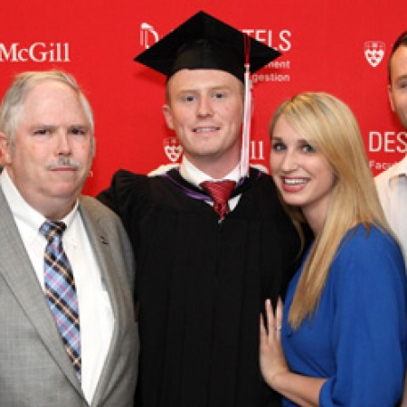 Former MUS President Dave Fortin (BCom'12) and family (Photo: Owen Egan)