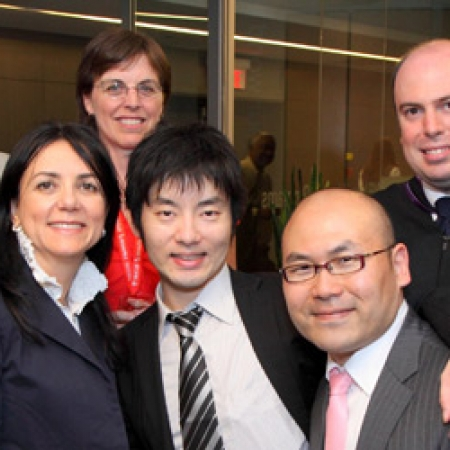 Prof. Derek Hart, Prof. Francesca Carrieri, Anne Billyard, MBA Japan Program Administrator, and MBA Japan graduating students Akiyoshi Okita, Hwa Ig Ra, Vincent Gouget, and Boon Hoh (Photo: Owen Egan)