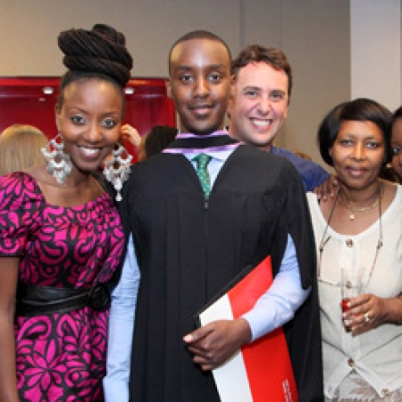 Roger Rushemeza (MBA'12) (3rd from left) and family at the Masters Programs Convocation Reception (Photo: Owen Egan)