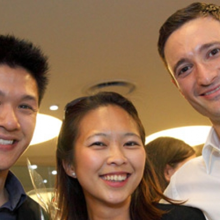 Hurbert Leung (MBA'10), Jun Yeo (MBA'12), and Hernan Ciechanowiecki (MBA'12) (Photo: Owen Egan)