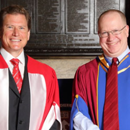 Honorary doctorate recipient Darren Entwistle (MBA'88, LLD'13) and Dean Peter Todd (BCom'83) (Photo: Owen Egan)