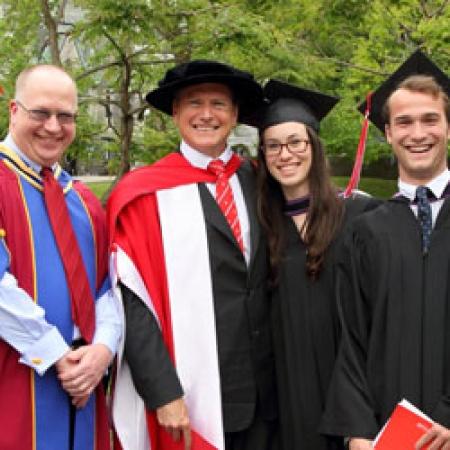 Louis Galtie (BCom'13), Dean Peter Todd (BCom'83), Darren Entwistle (MBA'88, LLD'13), Sarah Guerette (BCom'13), Tanguy Giraud (BCom'13), and Chancellor Arnold Steinberg (BCom'54) (Photo: Owen Egan)