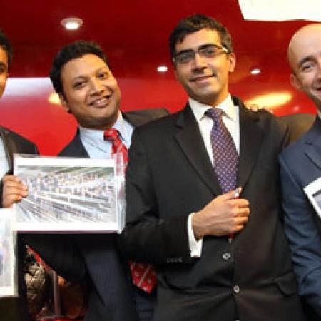 Soham Thorat (MBA'13), Shailendra Shailendra (MBA'13), Rohit Gulati (MBA'13), and Omar Omais (MBA'13) (Photo: Owen Egan)