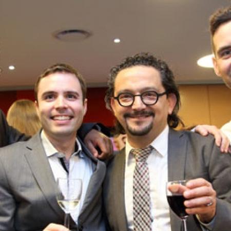 Alain Kassangana (MBA'13), Charles Verdon (MBA'13), Professor Tamer Boyaci, and Thomas Weber (MBA'13) (Photo: Owen Egan)