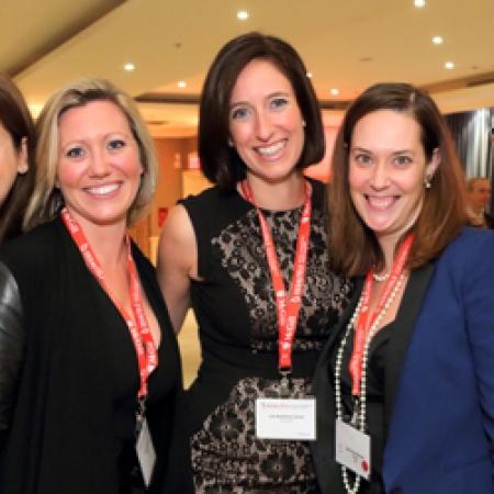 Christine Boivin, BCom'03, Vanessa Guimond, Eve Remillard-Larose, BCom'03, Marie Claude Berger-Paquin, and Sophie Boulanger, BCom'03