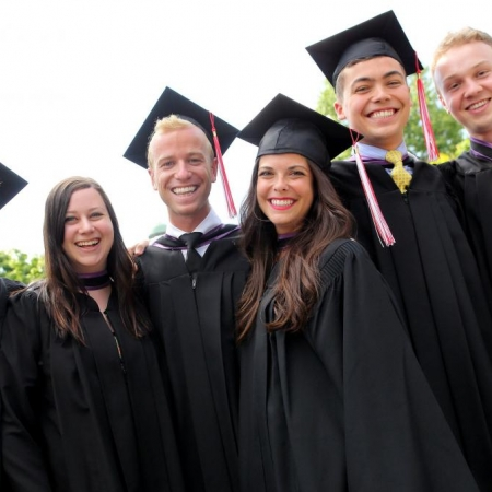 BCom graduates of 2014 (left to right): Charles Lailey, Rosalie Lesser, Sean Leslie, Chloe Beaulieu, Joshua Kimsa, Ben Veldman (Photo: Owen Egan)
