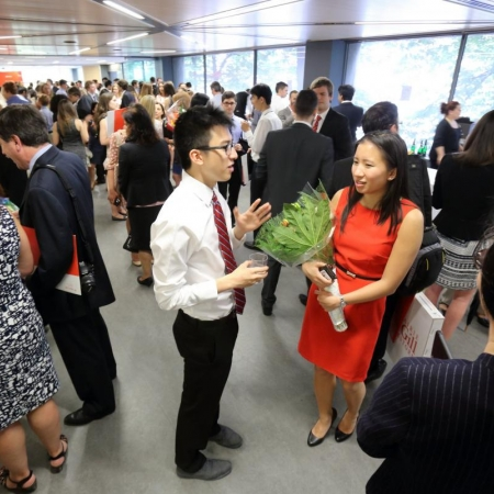 Students mingling at the BCom Convocation Reception. (Photo: Owen Egan)