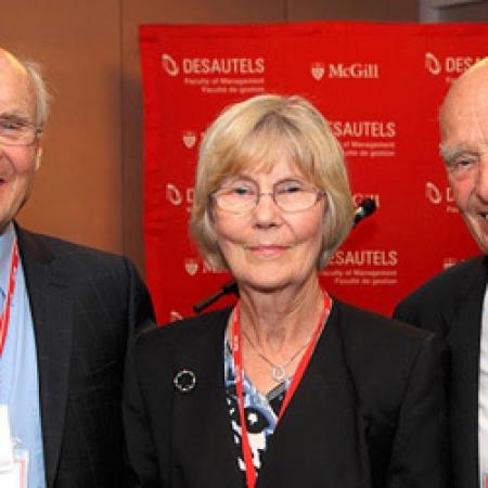James R. Conrad, BCom'51, Nancy Conrad, and Donald P. Walter, BCom'51 (Owen Egan