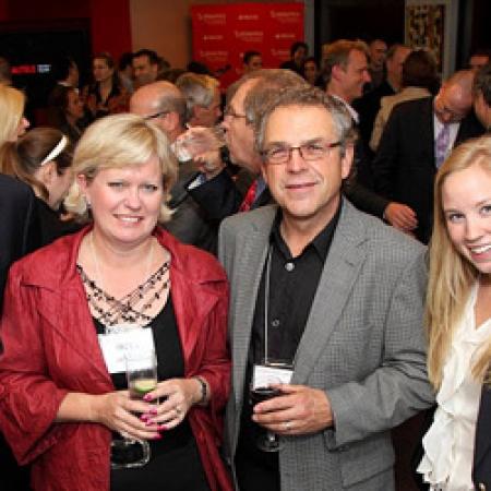 Don Lewtas, BCom'75, CFO Onex Corporation, Hazel de Burgh, Martin Tekela, BCom'76 and Celine Junke, BCom'11, Development Officer (Owen Egan)