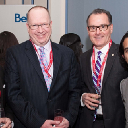 BCom student Joel Taillefer, Dean Peter Todd (BCom'83), and Imran Amed (BCom'97)