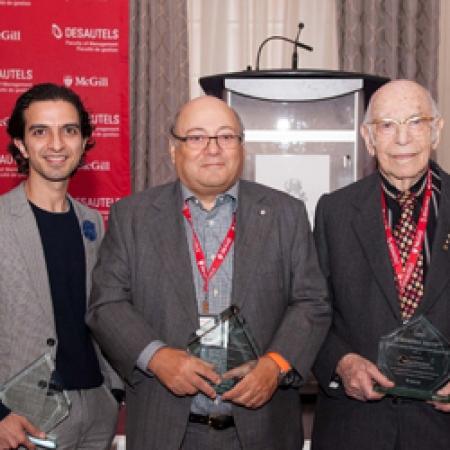 Desautels Management Achievement Awards co-chairs Shonezi Noor (far left) and Fa