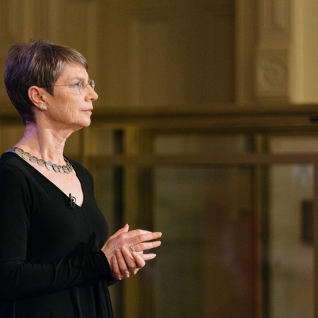 Professor Nancy J Adler, S. Bronfman Chair in Management in the Desautels Faculty of Management asks audience members to reflect on Beethoven's Egmont Overture.