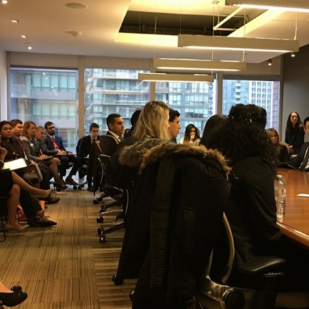 Wednesday, November 15th, 2017: Students listening intently to the information presentation at the Scotiabank firm session.