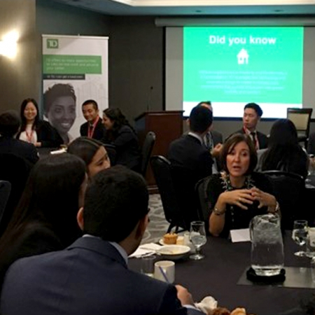Thursday, November 16th, 2017: Students having breakfast, while receiving information from different TD Bank representatives at their respective tables, during the TD Bank Group firm session.