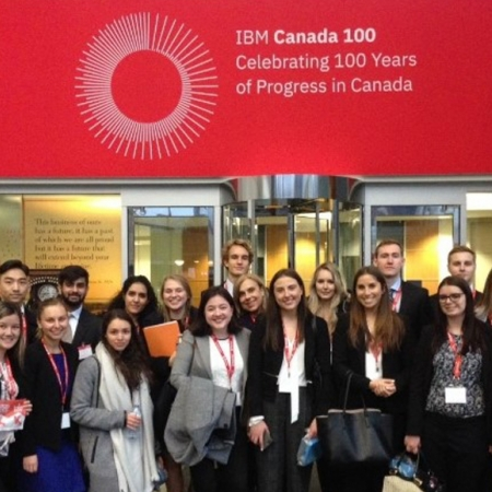 Wednesday, November 15th, 2017: Students heading into the IBM Canada office for a firm tour. While there, we were even able to test out IBM's Watson with recipe creations!