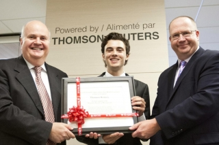 Mark Davidson, BCom student Sean Finnell, and Dean Peter Todd