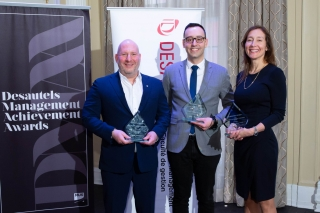 2019 DMAA recipients: Hicham Ratnani (BEng '08), COO and Co-founder, Frank And Oak (DMAA Young Inspiration Achievement Award), France Margaret Bélanger (EMBA'14), Executive Vice-president, Commercial and Corporate Affairs, Montréal Canadiens (Management Achievement Award), and Dani Reiss, CEO and President, Canada Goose (Management Achievement Award)