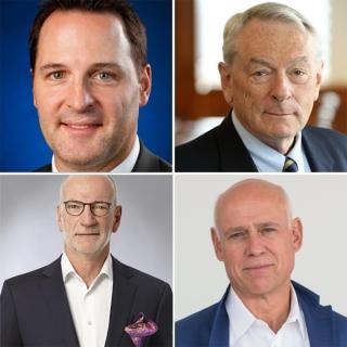Clockwise: Mathieu Darche (BCom'00), Richard Pound (BCom'62), Hubert Lacroix (MBA'81), and Mark Hantho (BCom'81).