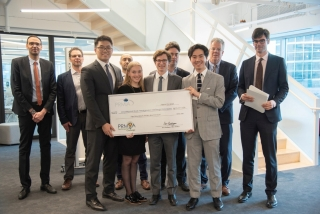 Desautels Capital Management Team comprised of BCom students Ludovic Van den Bergen, Emilie Granger, Ian Jiang, and Roy Chen Zhang