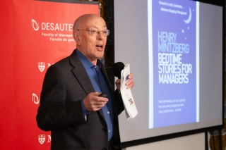 """Prof. Henry Mintzberg presenting his latest book, """"Bedtime Stories for Managers""""."""