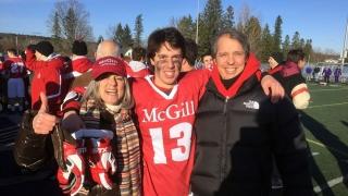 Louis-Charles Généreux (C) celebrates McGill's national lacrosse championship in 2015 with his mother (Myriam Legault) and father (Claude Généreux).
