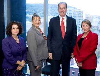 Professor Antonia Maioni, Dean of the Faculty of Arts, Isabelle Bajeux-Besnainou, Dean of the Desautels Faculty of Management, David Malpass, President of World Bank Group, Professor Suzanne Fortier, Principal and Vice-Chancellor