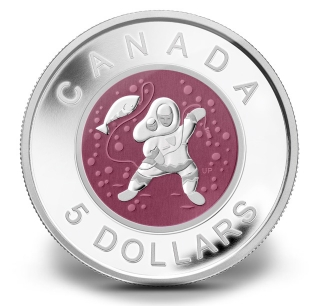 Mother and Baby Ice Fishing five dollar Canadian coin