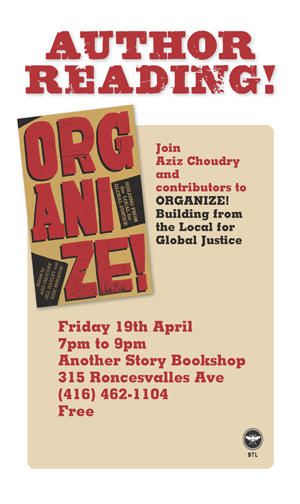 Organize! Building from the Local for Global Justice poster