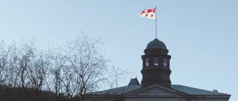 McGill flag on McCall MacBain arts building