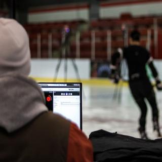 Skating test at the hockey arena