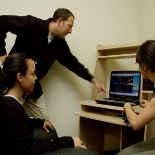 Dr. Bloom observing  Bio-Neuro feedback Testing