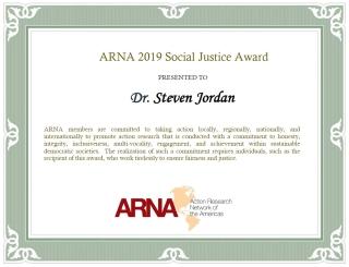 Image of ARNA Award Certificate presented to Steve Jordan