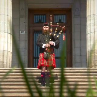 Bagpiper on the McGill Arts Building Steps