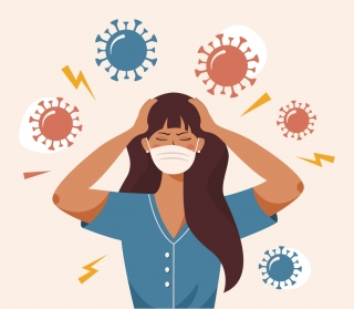 Cartoon of woman wearing a surgical mask with her eyes closed in frustration, holding her head while COVID-19 germs circulate around her.