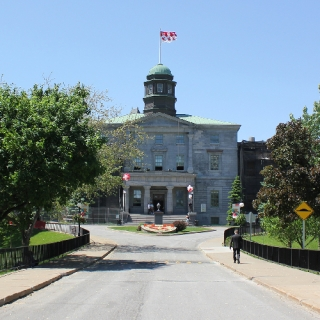 McGill Arts Building flies McGill University flag. View from lower campus with the road and green trees.