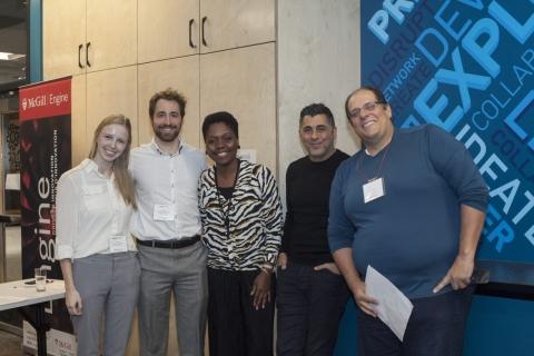 Image of the John D. Thompson Entrepreneurial Development Seminar 2020 winning team and the judges.