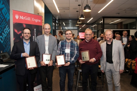 Group shot of 4 McGill faculty members receiving plaques for patents that were awarded to them in 2019.