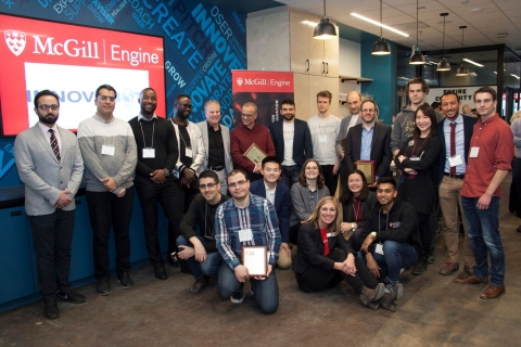 Group photo of all the students and faculty members who were celebrated during Engine's Celebration of Entrepreneurship and Innovation event in 2019.
