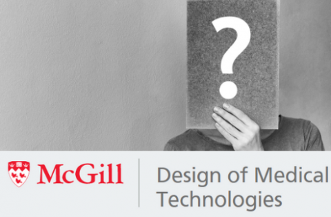 Design of Medical Technologies logo superimposed on an image of someone holding a questions mark in front of their face.