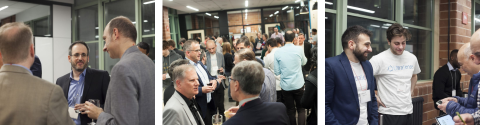 Collage of three images with McGill faculty, staff and students networking during the 2019 Celebration of Innovation and Entrepreneurship.
